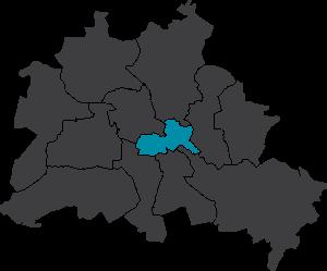 Karte Berlin-Friedrichshain Kreuzberg